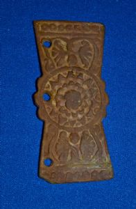 A very large and decorative Roman Military bronze belt stiffener applique. SOLD